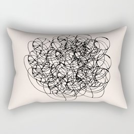 Black Circle Lines on Pink Rectangular Pillow
