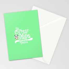 Cutest Kids Panda born in India T-Shirt Stationery Cards