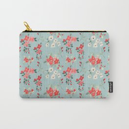 Ditsy Pink and White Floral Pattern Carry-All Pouch