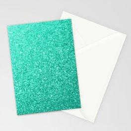 Aquamarine Aqua Blue Sparkly Glitter Stationery Cards