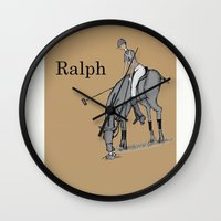 wreck it ralph Wall Clocks featuring Ralph by David Michael Schmidt