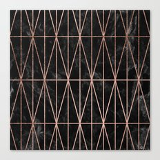 Modern geometric triangles faux rose gold pattern on black marble Canvas Print