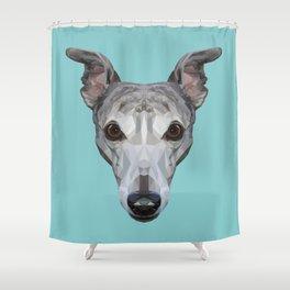 Whippet // Blue Shower Curtain