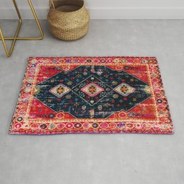 Heritage Oriental Berber Traditional Moroccan Style Blue & Red Design Rug