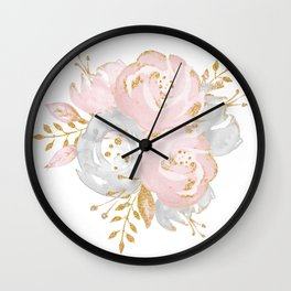 Roses Gold Glitter Pink by Nature Magick Wall Clock