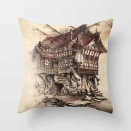 Steampunk Landscape Throw Pillow