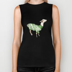Llama in a Green Deer Sweater Biker Tank