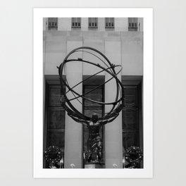NYC Atlas in Rockefeller Center Statue in Black and White Art Print