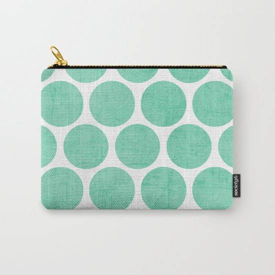 mint polka dots Carry-All Pouch