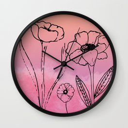 Floral Sunset Wall Clock