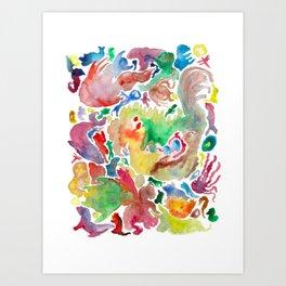 Abstract unconscious animals Art Print