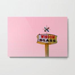 Atomic Pink Starburst - Vintage Googie-Style Sign with Pink Background Metal Print