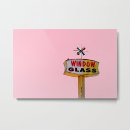 Atomic Pink Starburst - Vintage Googie-Style Sign with Pink Background Metal Print