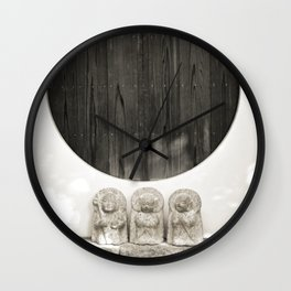 Jizo in Black and White, Kyoto Wall Clock