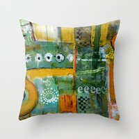 starbucks Throw Pillows featuring Starbucks by Jenny Chatterton