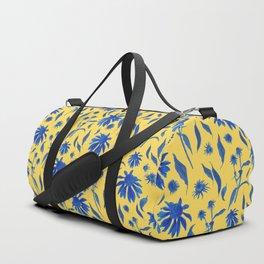 Elegant Blue Cone Flowers on Mustard Yellow Duffle Bag