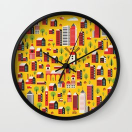 Urban background of buildings Wall Clock