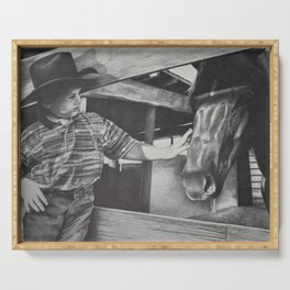 A boy and his horse Serving Tray