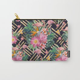 Tropical floral, flamingos and gold strokes pattern Carry-All Pouch