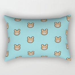 Cute Teddy Bear Pattern (Blue) Rectangular Pillow