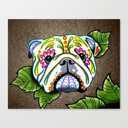 English Bulldog - Day of the Dead Sugar Skull Dog Canvas Print