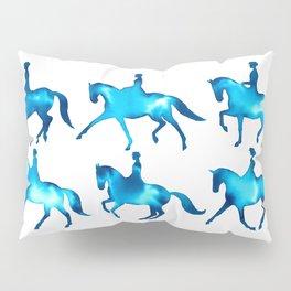 Turquoise Dressage Horse Silhouettes Pillow Sham