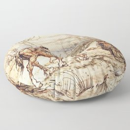 mr toad on a horse Floor Pillow