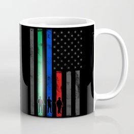 Thin Blue Line, Red Line, Green Line Flag Coffee Mug