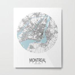 Montreal City Map of Canada - Circle Metal Print