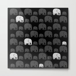 Elephant Black Metal Print