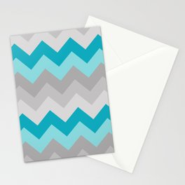 Teal Turquoise Blue Grey Gray Chevron Ombre Fade Stationery Cards
