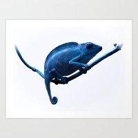 chameleon Art Prints featuring Chameleon by DistinctyDesign