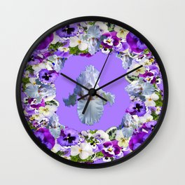 SPRING LILAC PURPLE PANSY FLOWERS & WHITE IRIS PATTERN Wall Clock
