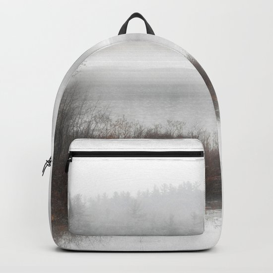 Foggy lake on a winter day Backpack