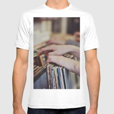 Flipping Through MEDIUM Mens Fitted Tee White