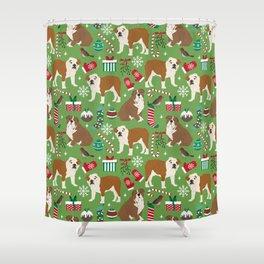 English Bulldog christmas pattern print pet friendly pet portrait dog art Shower Curtain