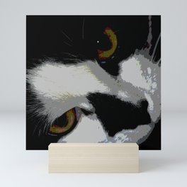 Black white cat Mini Art Print