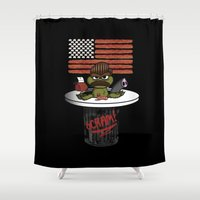 swanson Shower Curtains featuring Oscar the Swanson by JVZ Designs