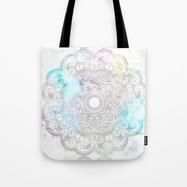abstract gray and turquoise mandala design in minimal style Tote Bag
