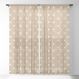 Dotted (White & Tan Pattern) Sheer Curtain