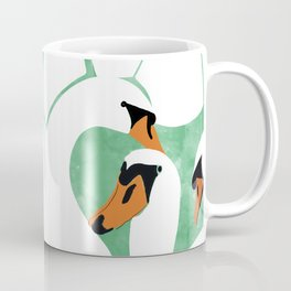 Swans, Colorful Wildlife Birds Painting, Jungle Pond Forest Animals Wild Illustration Coffee Mug