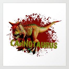 Bad Carnotaurus Splashing Blood Green and Red Art Print