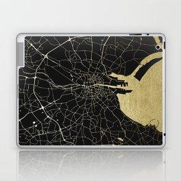 Dublin Ireland Black on Gold Street Map Laptop & iPad Skin