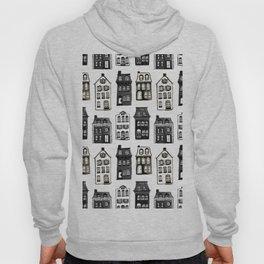 Mansard Mansions in Black + White Watercolor Hoody