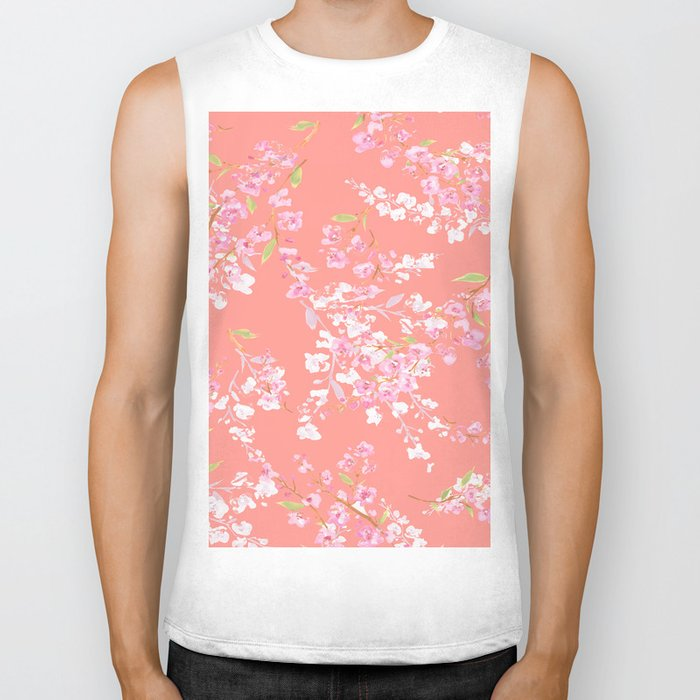 cherry blossoms in living coral Biker Tank