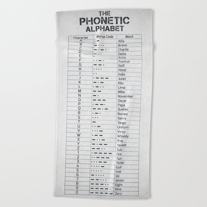 The Phonetic Alphabet And Morse Code Beach Towel by hoolst
