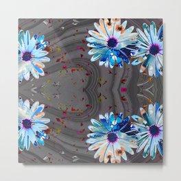 Wild Marbled Daisies Art - Sharon Cummings Metal Print