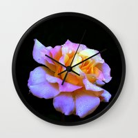 rose gold Wall Clocks featuring Pink And Gold Rose by minx267