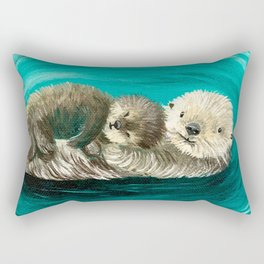 Cuddling Mama and Baby Sea Otters Rectangular Pillow