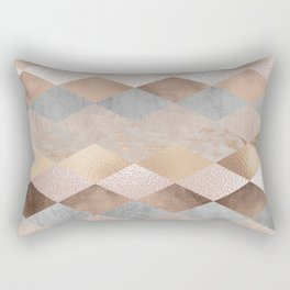 Copper and Blush Rose Gold Marble Argyle Rectangular Pillow